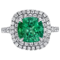 Colombian Emerald Ring Cushion Cut 2.82 Carats