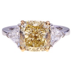 Cushion Cut Fancy Diamond 5.03ct Ring White Gold with Two Side Triangle Diamonds