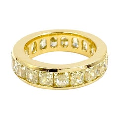 Cushion Cut Fancy Yellow Diamond Eternity Band