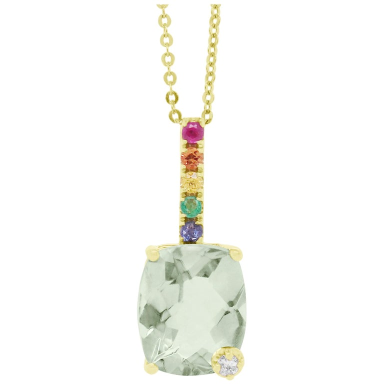 Cushion Cut Green Amethyst, Multi-Color Sapphire Rainbow Pendant For Sale