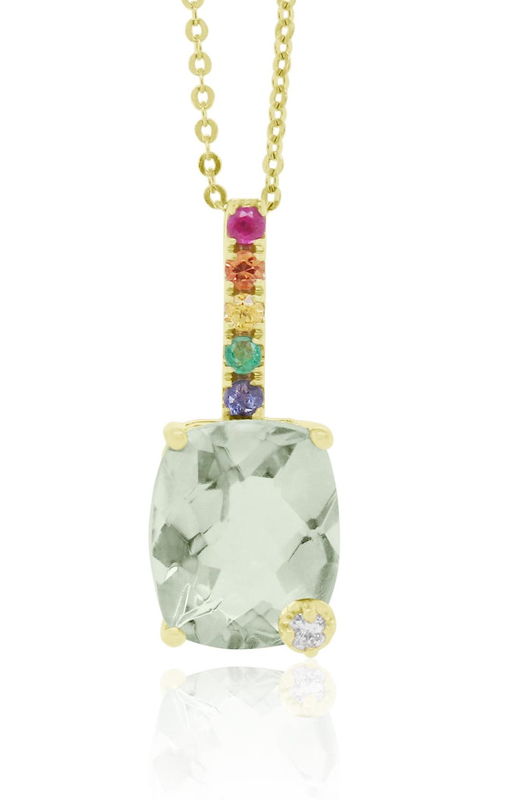 Cushion Cut Green Amethyst, Multi-Color Sapphire Rainbow Pendant In New Condition For Sale In GREAT NECK, NY
