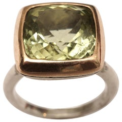 Green Aquamarine in 18 Karat Gold and Sterling Silver Cocktail Ring