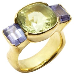 Cushion Cut Green Beryl with Emerald Cut Tanzanites set in 18 Karat Gold