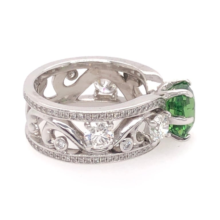 Modern Cushion Cut Green Tsavorite and Diamond White Gold Ring For Sale