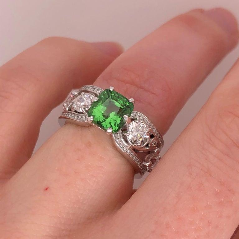 Women's Cushion Cut Green Tsavorite and Diamond White Gold Ring For Sale