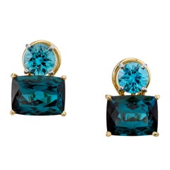 Cushion Cut Indicolite Tourmaline Earrings with Natural Zircons, 18 Karat Gold