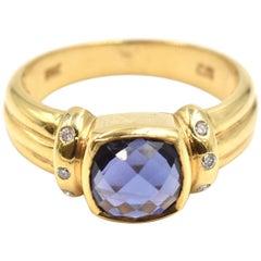 Cushion Cut Iolite and Diamond Ring 18 Karat Yellow Gold