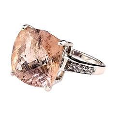 Cushion Cut Morganite in Sterling Silver Ring