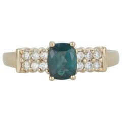 Cushion Cut Natural Color Change Alexandrite Diamond Ring Band 14 Karat Gold