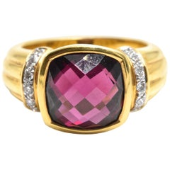 Cushion Cut Rhodolite Garnet and Diamond Ring 18 Karat Yellow Gold