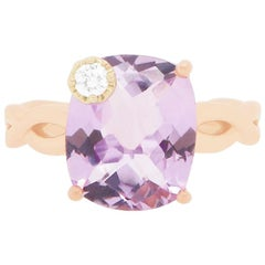 Cushion Cut Rose Amethyst 14 Karat Rose Gold Diamond Twist Ring