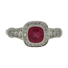 Cushion Cut Ruby and Diamond Cluster Ring 18 Karat White Gold
