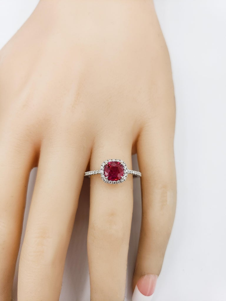 Cushion Cut Ruby and Diamond Halo Engagement Ring In New Condition For Sale In New York, NY