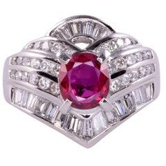 Cushion Cut Ruby & Diamond Platinum Ring