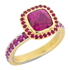 Cushion Cut Ruby Ring in Gold and Platinum