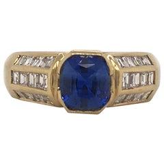 Cushion Cut Sapphire and Diamond Ring 2.62 Carat 18 Karat Yellow Gold