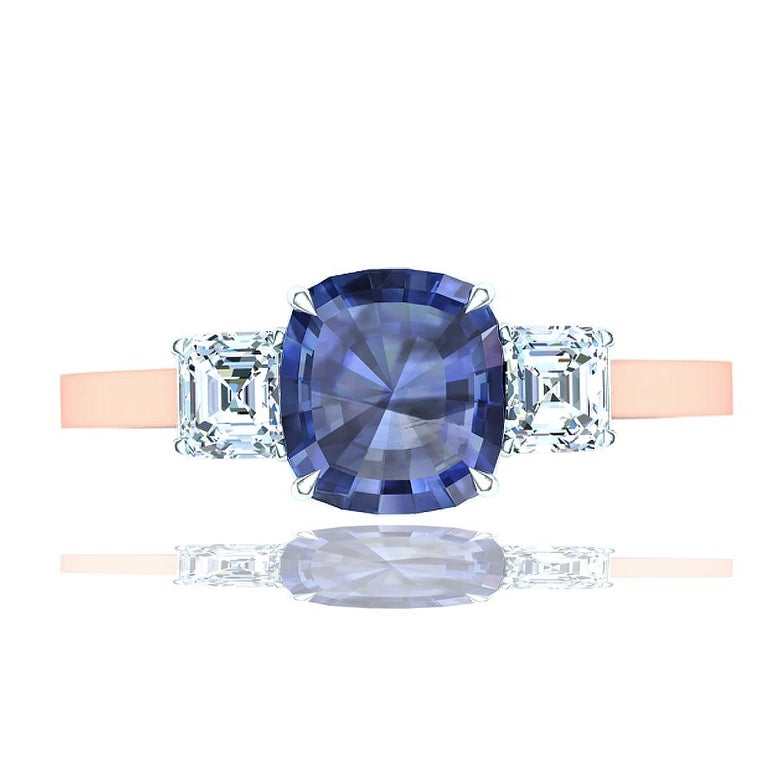 A perfect vintage cushion cut sapphire is shown below as a cornflower Ceylon blue.  The center stone is 1.5 carats apprx. and has a beautiful natural blue color with no heating or treatment this sapphire is what most are looking for. This center