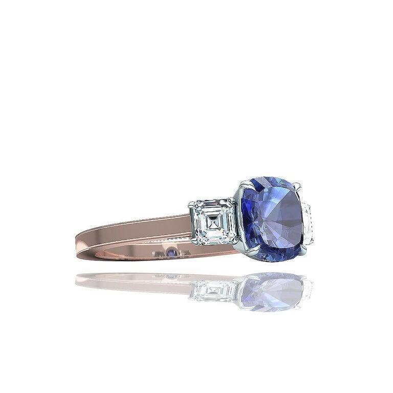 Modern Cushion Cut Sapphire and Diamond Ring For Sale