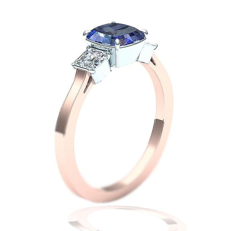 Cushion Cut Sapphire and Diamond Ring In Excellent Condition For Sale In Aliso Viejo, CA