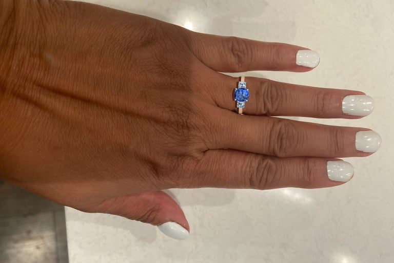 Women's or Men's Cushion Cut Sapphire and Diamond Ring For Sale