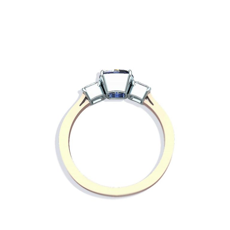 Cushion Cut Sapphire and Diamond Ring For Sale 1