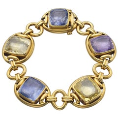 Cushion Cut Sapphire and Gold Link Bracelet