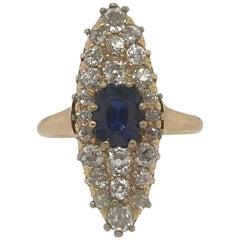 Cushion Cut Sapphire and Old Mine Cut Diamond Ring, 14 Karat Yellow Gold