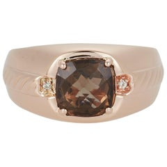 Cushion Cut Smokey Quartz White Diamond Mens Gents Band Ring 14K Etched Gold