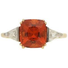 Cushion Cut Spessarite Garnet and Diamond / Dress Ring in 18 Karat Gold