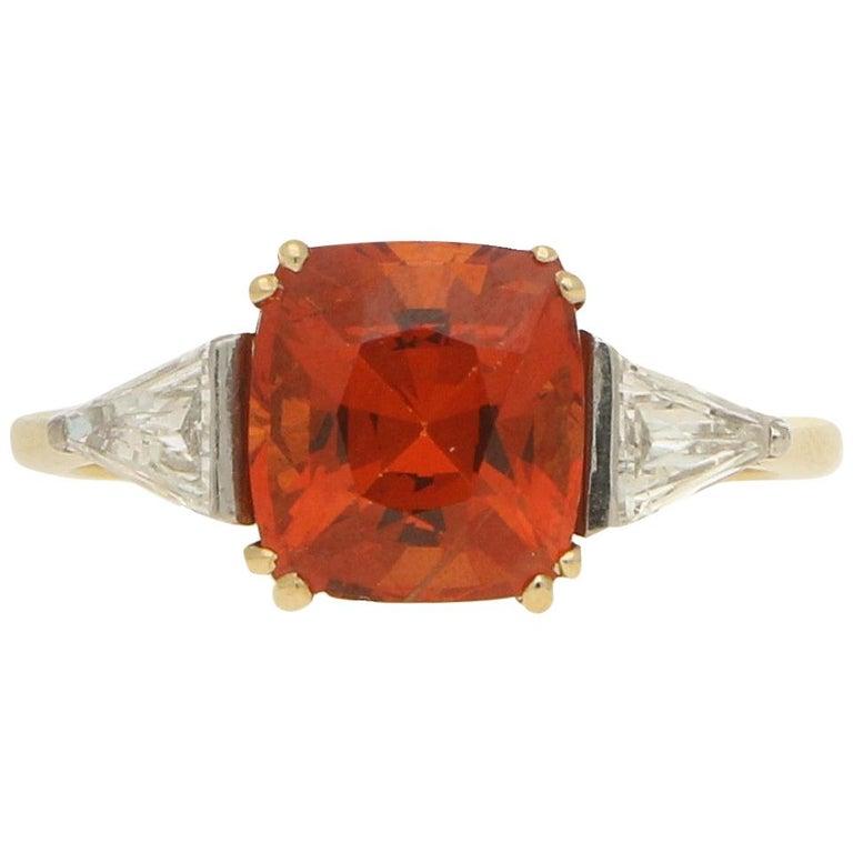 Cushion Cut Spessarite Garnet and Diamond / Dress Ring in 18 Karat Gold For Sale