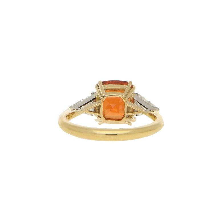 Modern Cushion Cut Spessarite Garnet and Diamond / Dress Ring in 18 Karat Gold For Sale