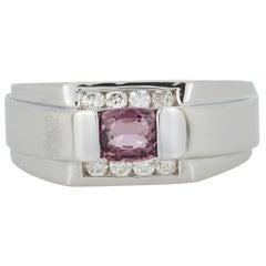 Cushion Cut Spinel Diamond Mens Gents Unisex Fashion Ring Band 14K White Gold
