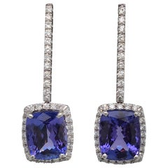 Cushion Cut Tanzanite Diamond Halo Drop Earrings 9.50 Carat 18 Karat White Gold