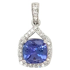 Cushion Cut Tanzanite Diamond Pendant 1.60 Carat 14 Karat White Gold