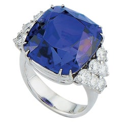 Cushion Cut Tanzanite Diamond Ring