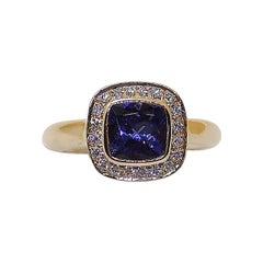 Cushion Cut Tanzanite with Diamond Ring Set in 18 Karat Rose Gold Settings