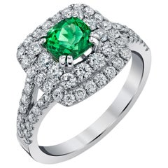 Tsavorite Garnet and Diamond Double Halo White Gold Cocktail Engagement Ring