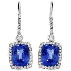Cushion Cut Unheated Ceylon Sapphire Diamond Platinum Drop Earrings