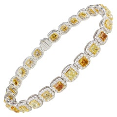 Cushion Cut Unique Yellow Diamond Bracelet