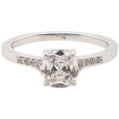 Cushion Cut Vintage Style .90 carat E Si2 'GIA' Diamond Ring in  White Gold