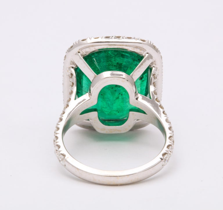 Women's or Men's Cushion Cut Vivid Green Emerald and Diamond Ring For Sale