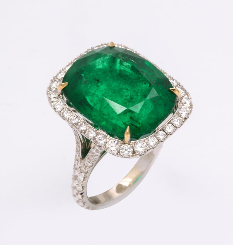 Cushion Cut Vivid Green Emerald and Diamond Ring For Sale 2