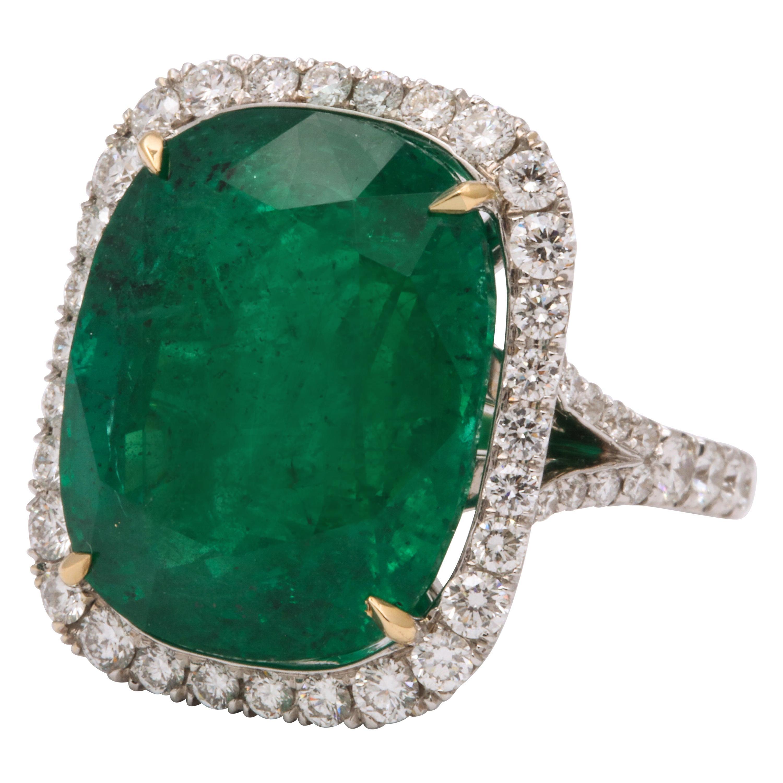 Cushion Cut Vivid Green Emerald and Diamond Ring