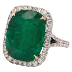 Cushion Cut Vivid Green Emerald and Diamond Ring