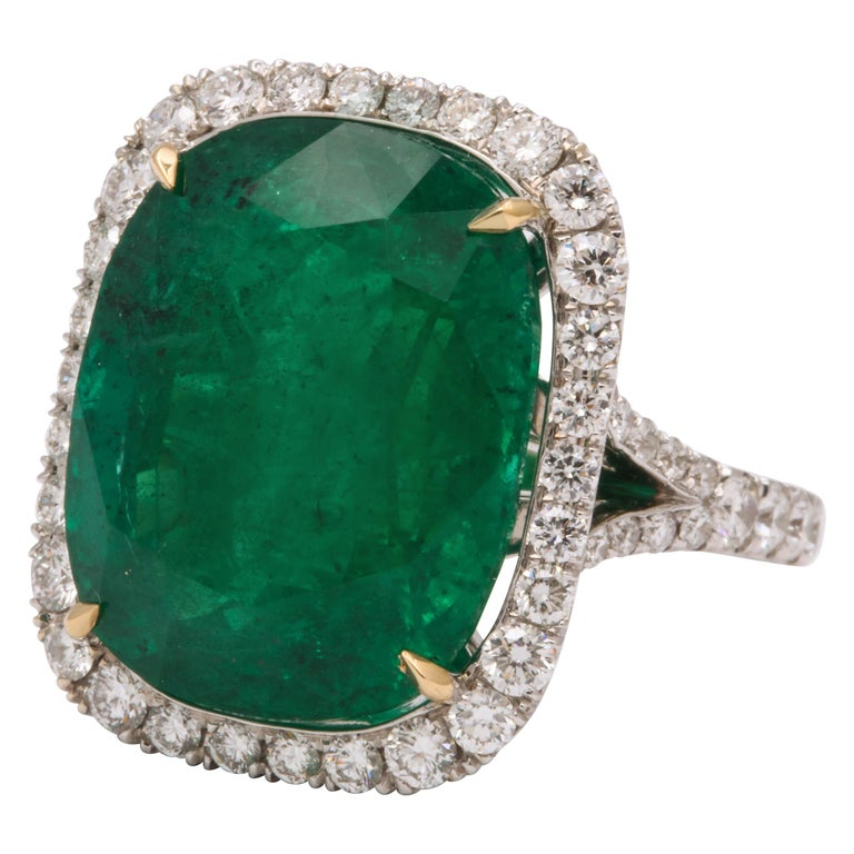 Cushion Cut Vivid Green Emerald and Diamond Ring For Sale