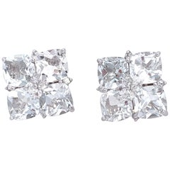 Cushion Cut White Topaz Square Earrings