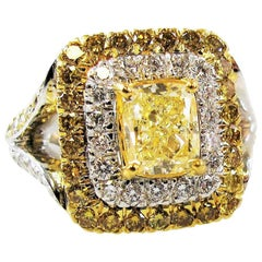 Cushion Cut Yellow and White Diamond Double Halo Cocktail Ring 18 Karat Gold