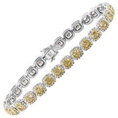 Cushion Cut Yellow Diamond Halo Tennis Necklace