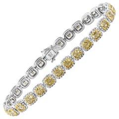Roman Malakov Cushion Cut Yellow Diamond Halo Tennis Necklace
