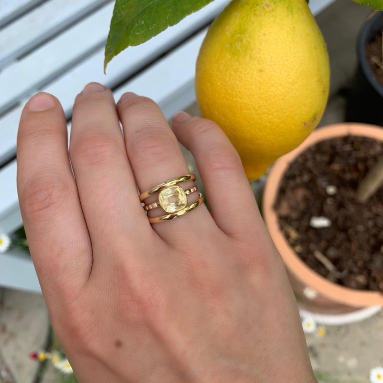 Cushion Cut Yellow Sapphire and Diamond 3-Band Ring For Sale 7